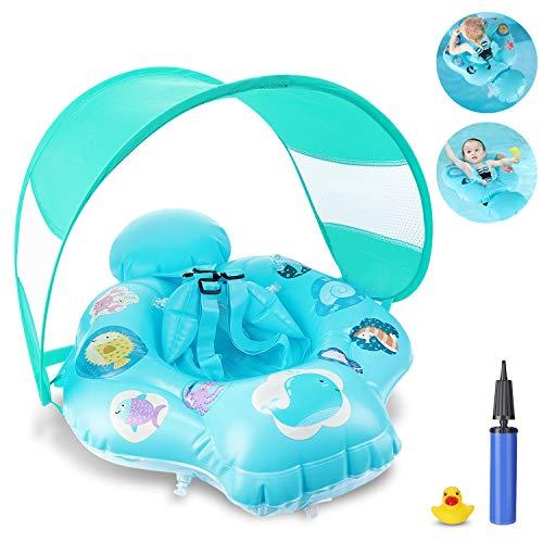 Magicfun Baby Swim Ring, flotador inflable con capota y asiento seguro, anillo de natación para niños Baby Swim Float, de 6 meses a 18 meses