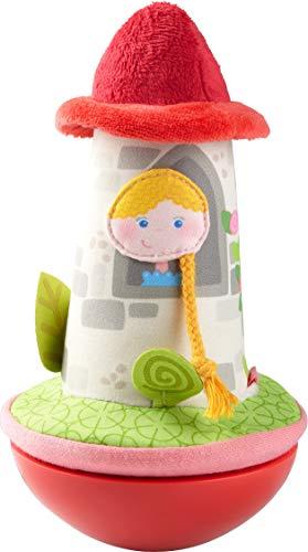 HABA 304279 - Torre de cuento de hadas de pie, muñeco de peluche con una princesa en la torre para bebés a partir de 6 meses, incluye efecto meneo y campana